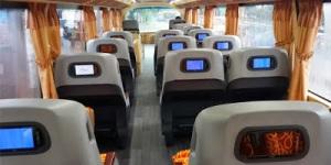 Fasilitas LCD atau Home Teater di setiap kursi penumpang
